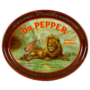 Lot 100). Dr. Pepper Oval Tray / Sign