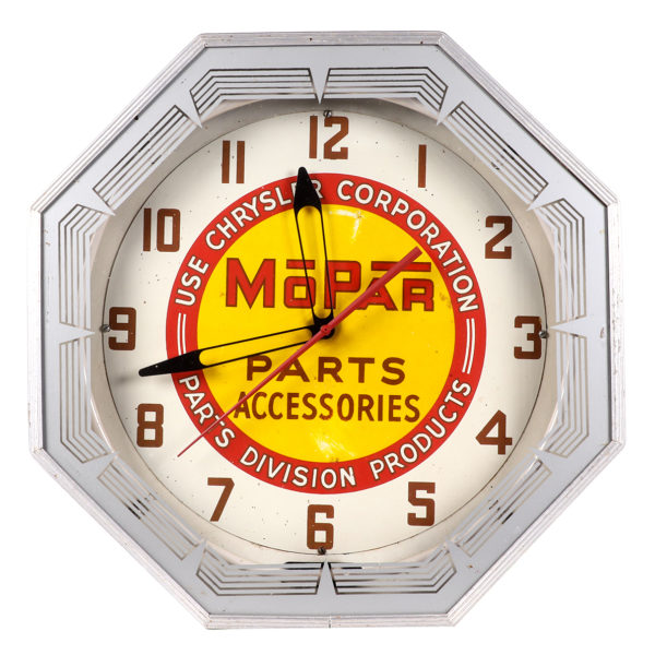 Lot 3). MoPar Auto Parts Neon Clock