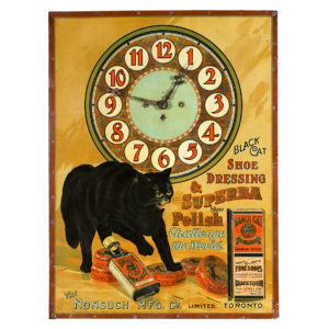 Lot 4). Black Cat Shoe Polish Clock