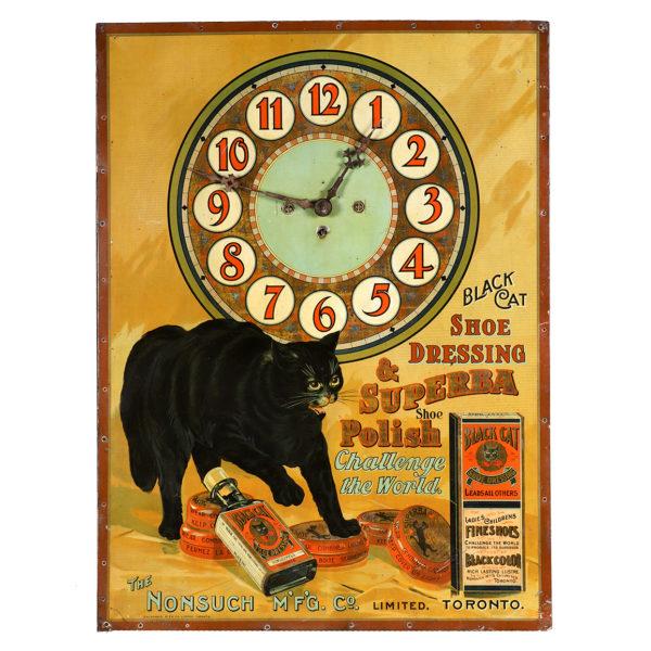 Lot 4). Black Cat Shoe Polish Clock
