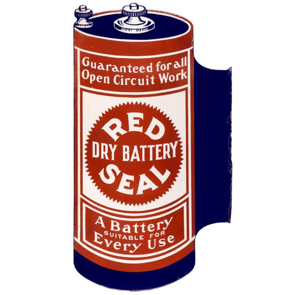 Lot 40). Red Seal Batteries Porcelain Sign