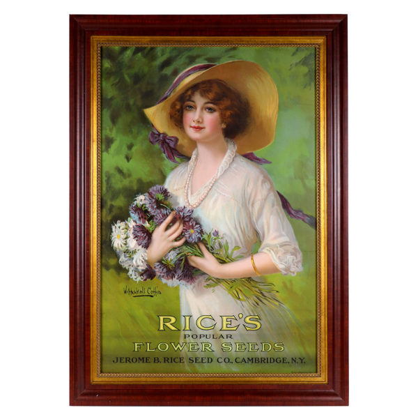 Lot 52). Rice's Flower Seeds Sign