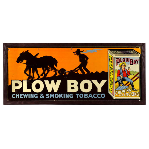 Lot 55). Plow Boy Tobacco Sign