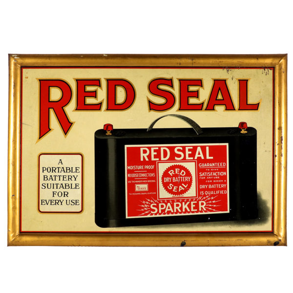 Lot 60). Red Seal Car Batteries Sign