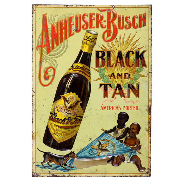 Lot 62). Anheuser-Busch Black & Tan Porter Sign