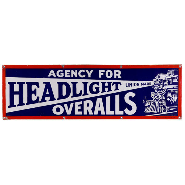 Lot 68). Headlight Overalls Porcelain Sign