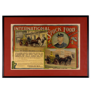 Lot 71). International Stock Food Co. Sign (Firefighting Theme)