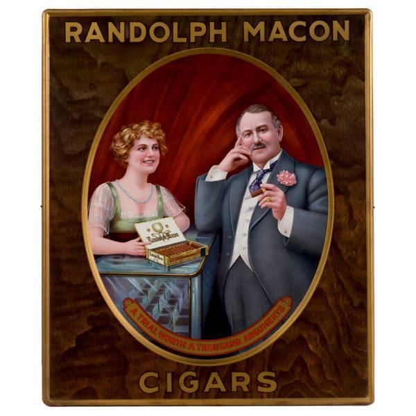Lot 89). Randolph Macon Cigars Sign